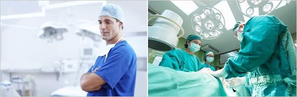 ブログ写真の統一感を出しつつもアイキャッチの目を引くためには文字の色を反対色・補色に使うが、何故なのかが分かる医者の手術服の例の画像