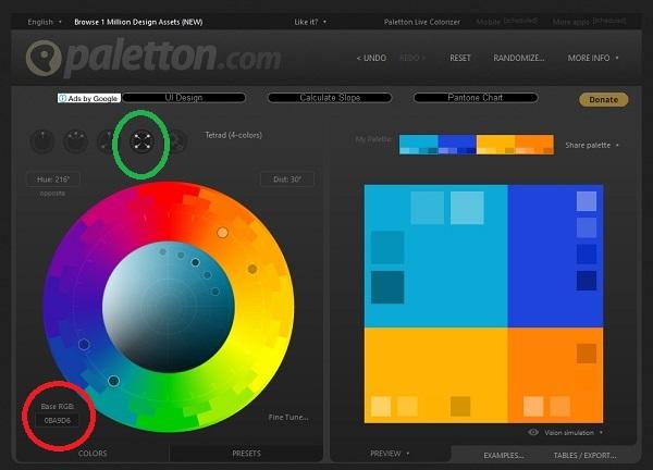 ブログ画像の文字入れの正確な反対色・補色を知る為に便利なツールのpaletton.comの画像