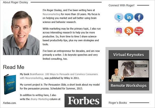 脳科学マーケティング100の心理技術の著者のロジャー・ドゥーリーの顔とウェブサイト